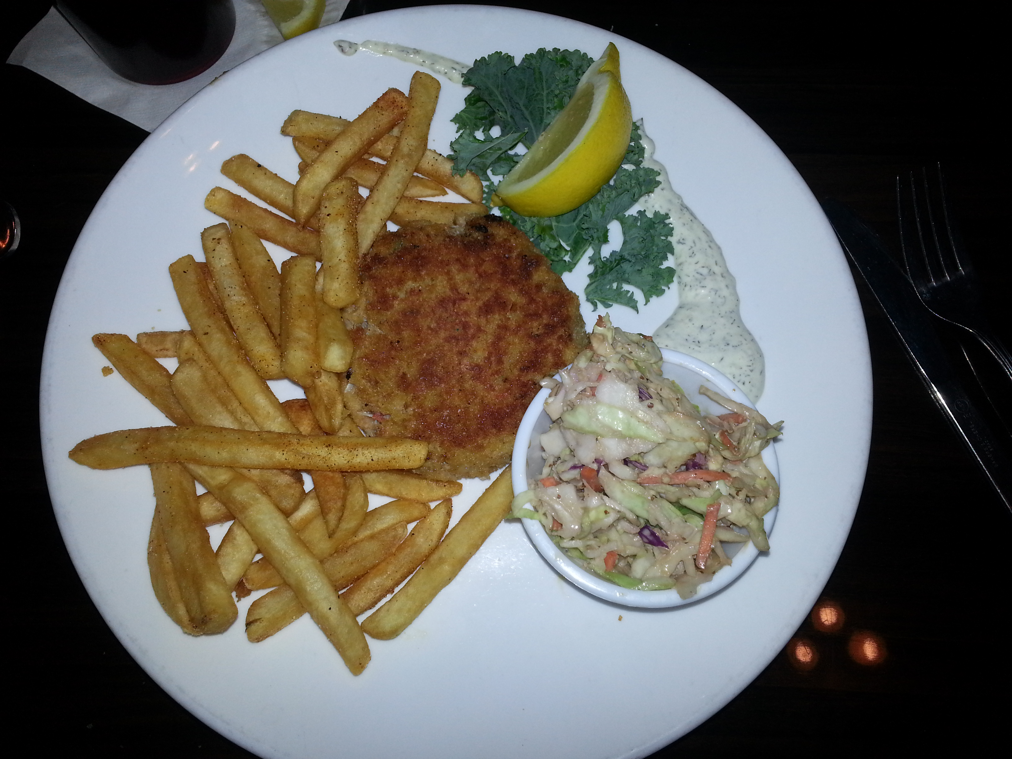Crab cake, fries and slaw at Ricky P's
