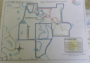 Hiking trails map for Rye Preserve Nature Center.