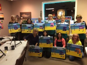 Wine tasting before painting at Impressive Designs & Wines studio, located in Indian Rocks Beach