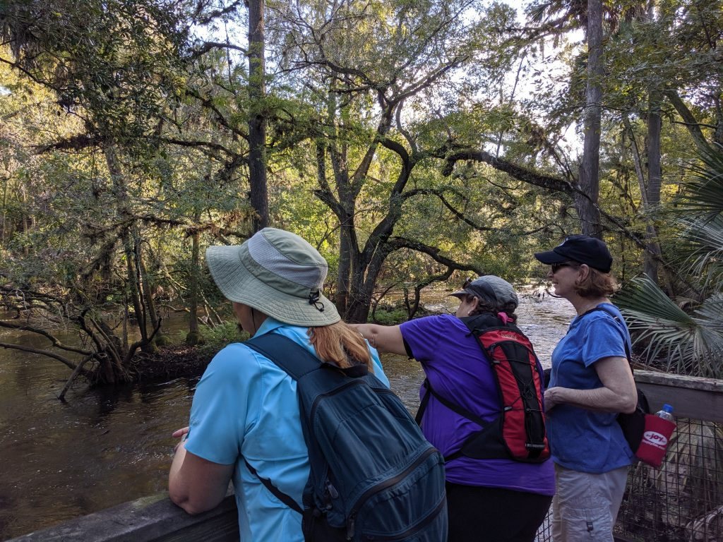 Some of the ladies from the Adventurous Woman's outdoors group standing on an overlook along the Hillsborough River watching the rapids at Hillsborough River State Park.