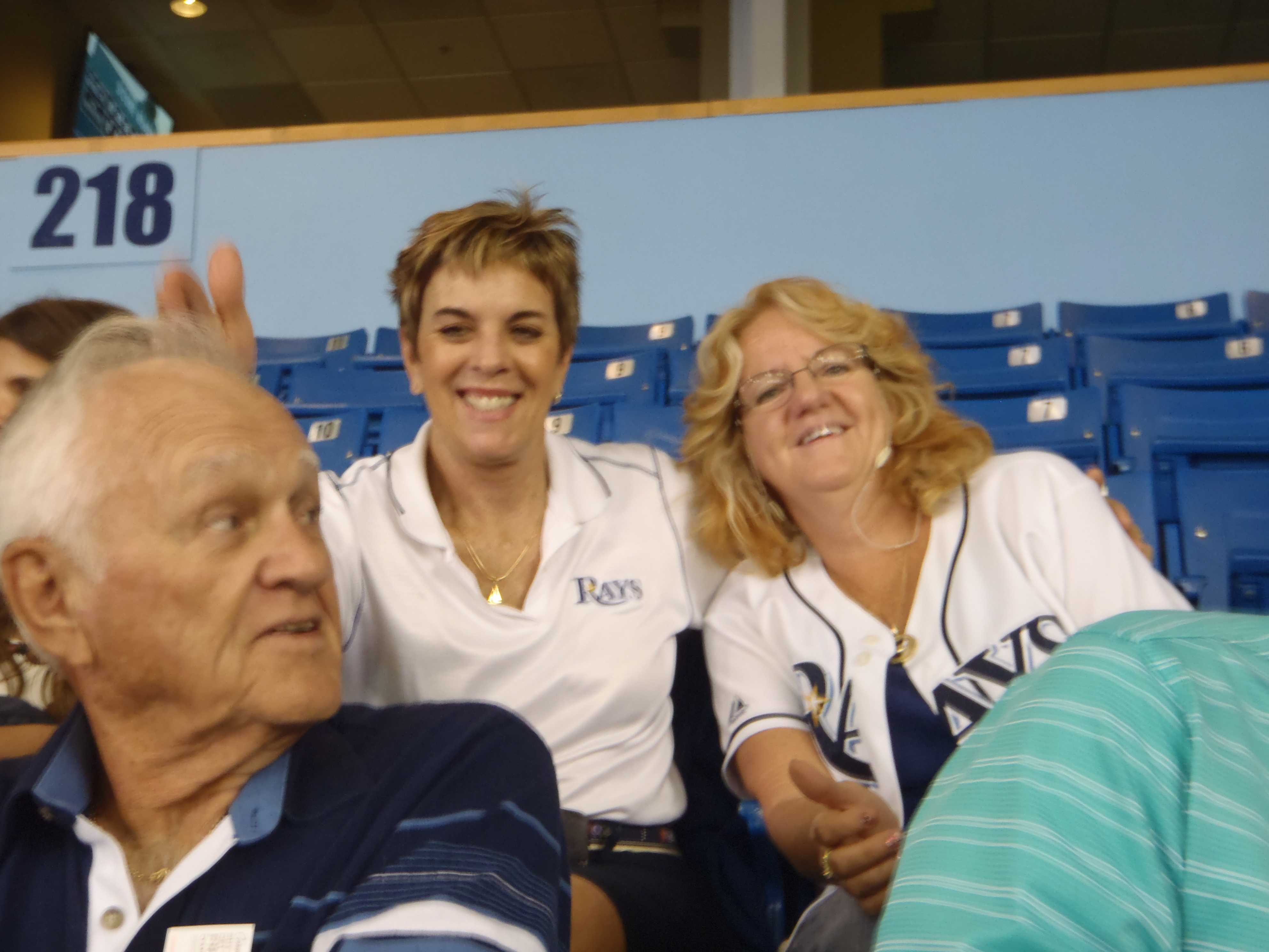 Having fun at the Rays game