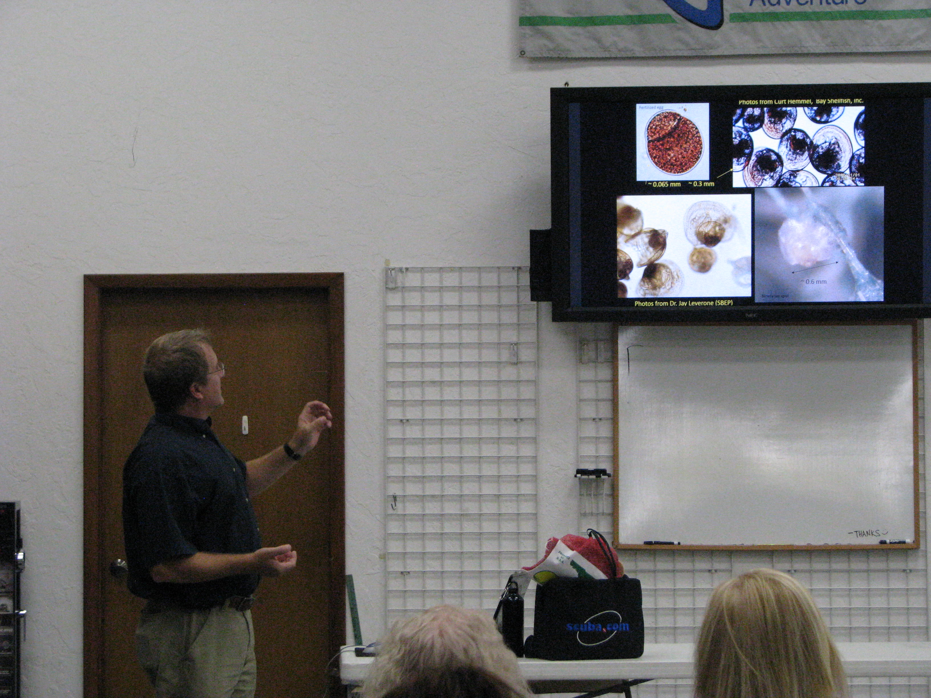 Dr. Stephen Geiger, a research scientist and the Molluscan Fisheries Subsection Leader at FWC talks about scallops at the monthly meeting.